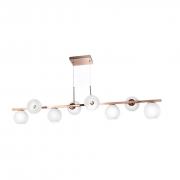 Lustre Moderno para Sala - Cobre com 8 Globos Branco Vazado