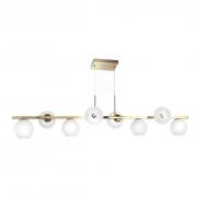 Lustre Moderno para Sala - Dourado e 8 Globos Branco Vazado