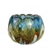 Mini Cachepot De Murano São Marcos - Cristal Azul com Âmbar 13,5cm