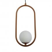 Pendente Moderno Aro Oval Cobre Com Globo Branco 12cm