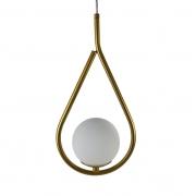 Pendente Moderno Gota com Globo Branco - Dourado Metalizado