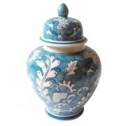 Potiche Balaústre de Cerâmica Pintado à Mão - Azul Turquesa