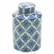 Potiche De Cerâmica com Tampa Floral - Azul e Branco 18cm