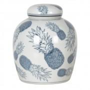 Potiche Decorativo de Porcelana Com Tampa - Abacaxis Azuis
