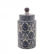 Potiche Decorativo de Porcelana Com Tampa - Azul e Branco