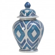 Potiche Decorativo de Porcelana Com Tampa - Geométrico Azul