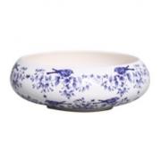 Tigela Cerâmica Ikebana Passarinho - Victoria Branco 25cm