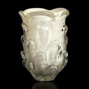 Vaso de Murano Com Aspente São Marcos - Cristal Pérola 26cm