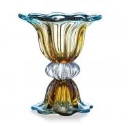 Vaso de Murano Com Base São Marcos - Cristal Azul e Âmbar