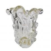 Vaso de Murano Com Ouro São Marcos - Cristal Transparente 20cm