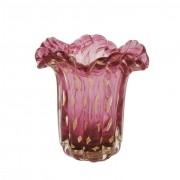 Vaso de Murano Pequeno Rosa Fucsia com Ouro 24K - Muranese