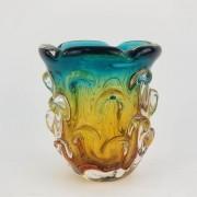 Vaso de Murano São Marcos - Cristal Esmeralda e Âmbar 17cm