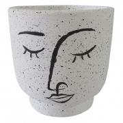 Vaso Decorativo Rosto Caricatura - Cachepot Branco para Flor