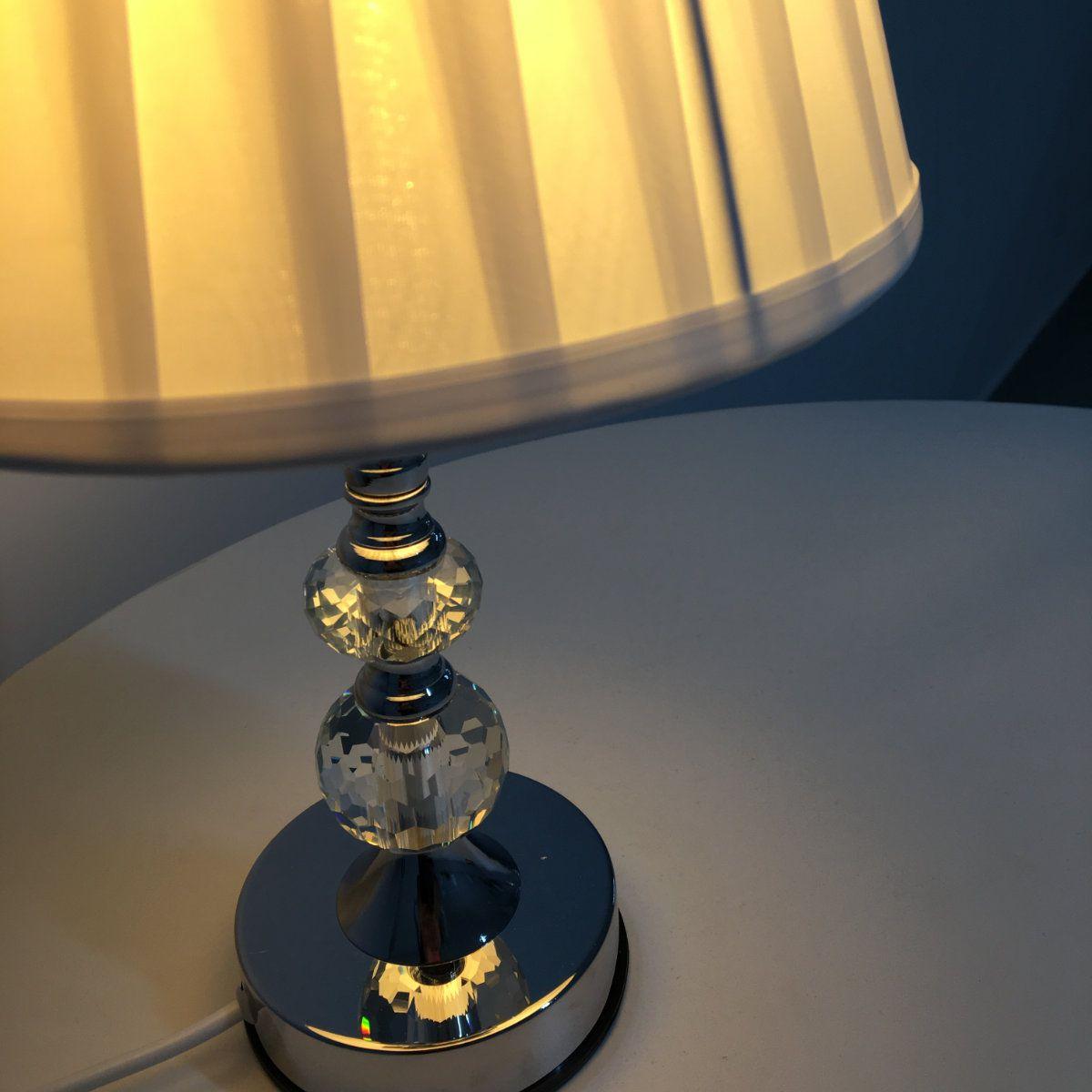 Abajur de Cristal com Cúpula em Poliéster - 35cm Ref. 381