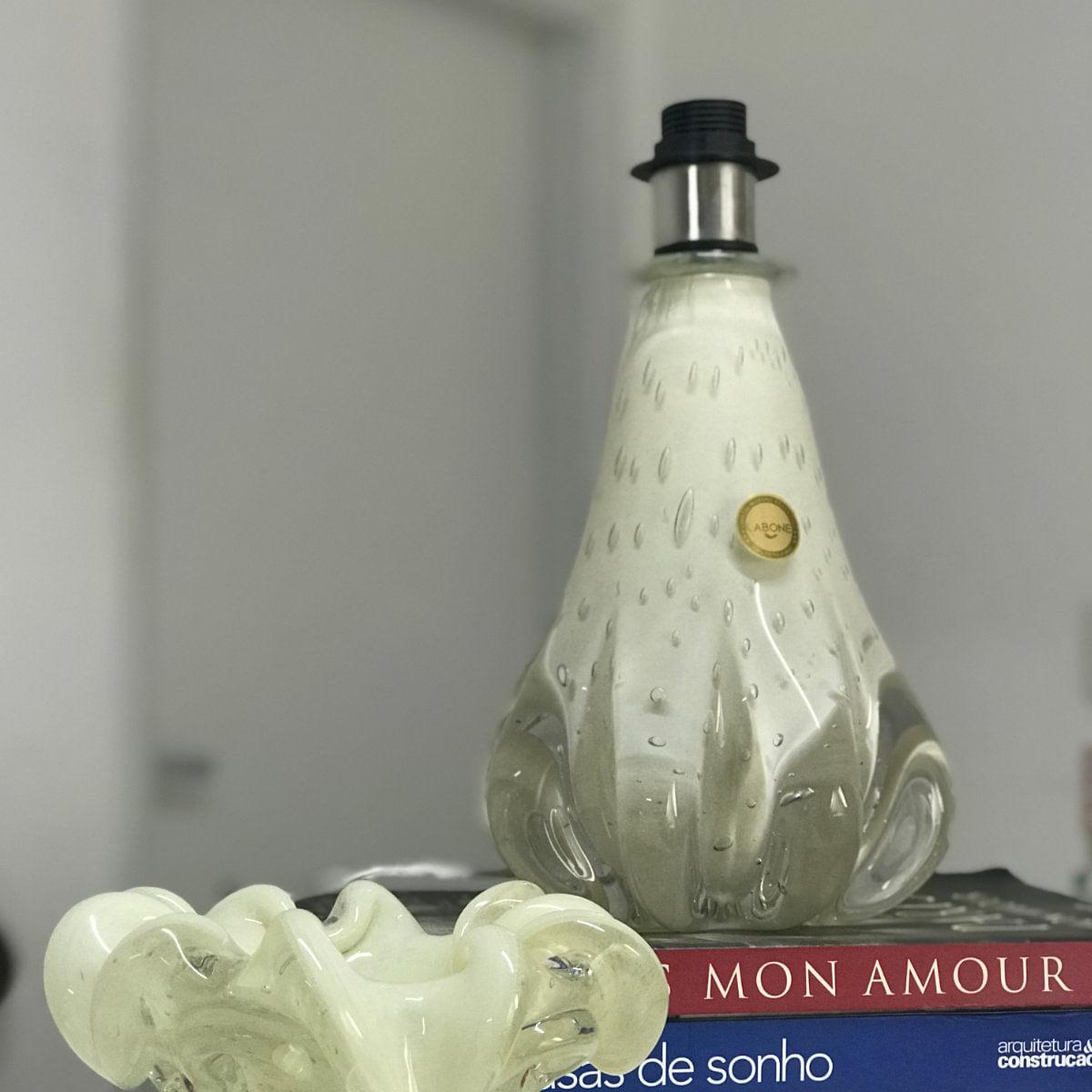 Abajur de Murano D'labone - Cristal Pérola 23cm Sem Cúpula