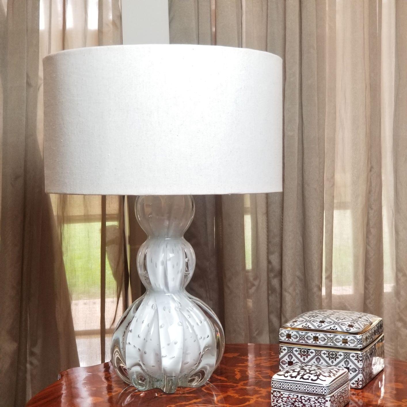 Abajur de Sala de Murano - Cristais Labone - Cor Branca 40cm