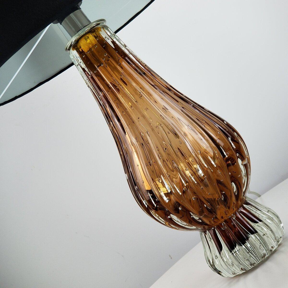 Abajur de Sala de Murano Cristais Labone - Marrom Garnet 50cm