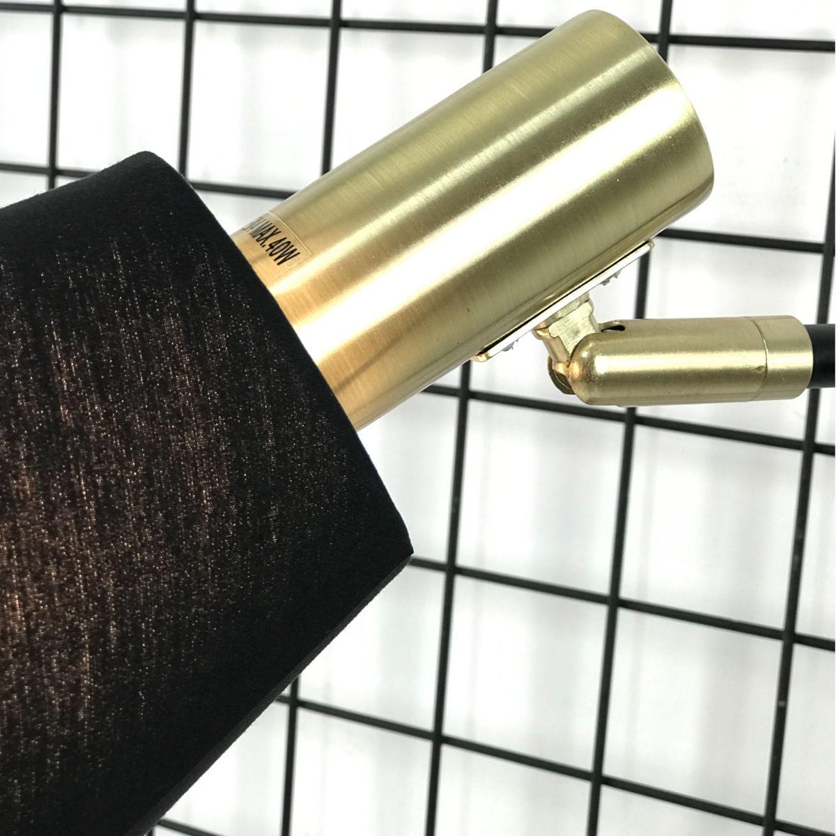 Abajur Pipe Preto com Dourado - Bella ME002 49,5cm