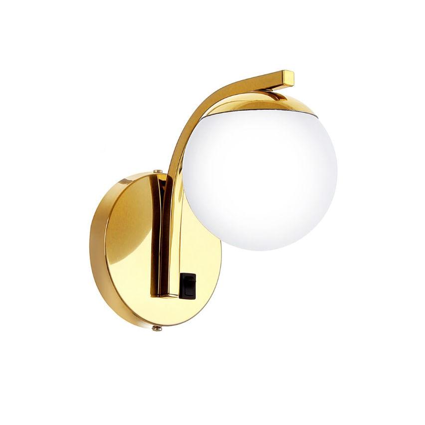 Arandela de Cabeceira Liga-Desliga Dourada com Globo Branco