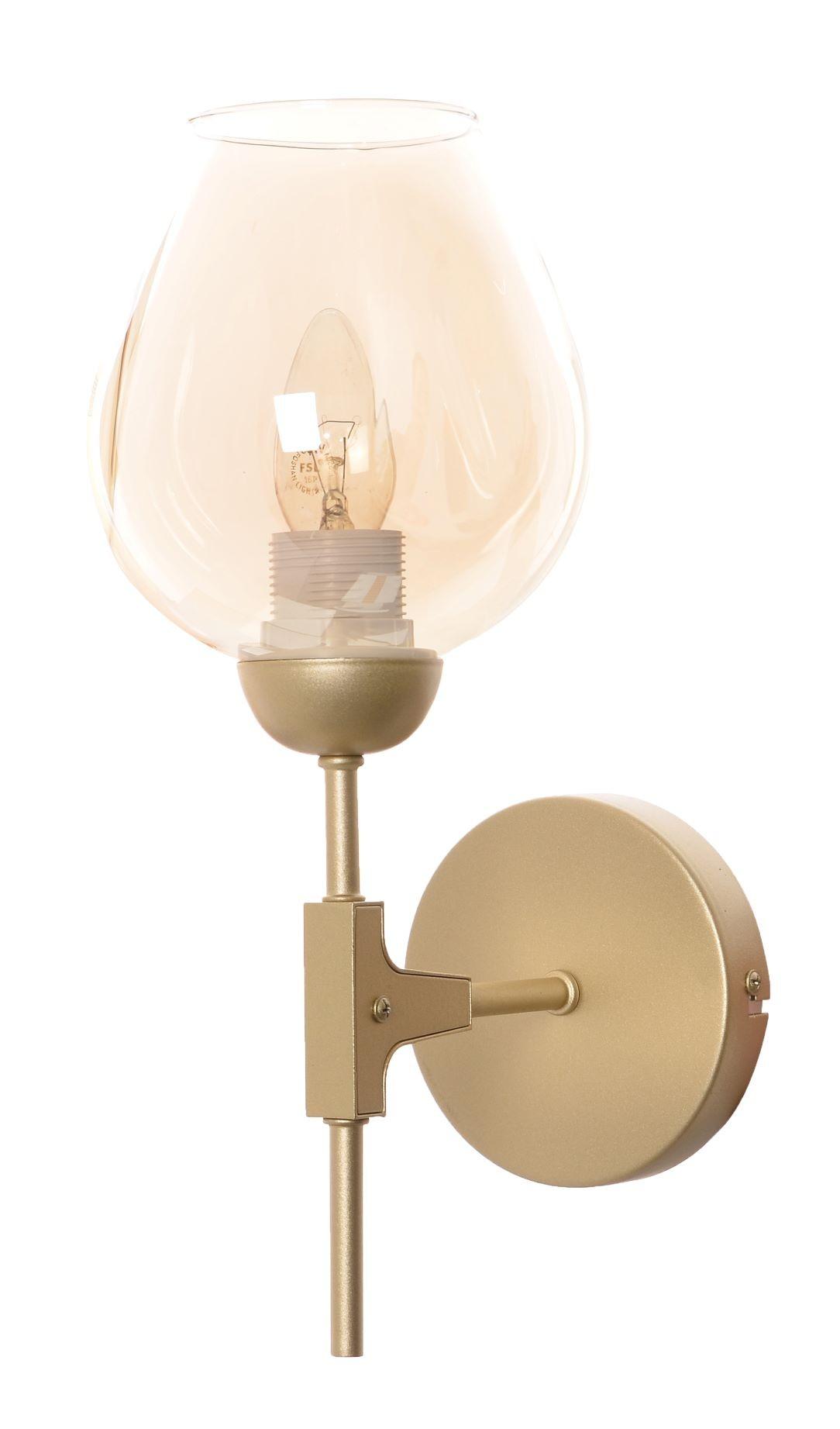 Arandela Dourada E Vidro Champanhe - Torchia Para 1 Lâmpada