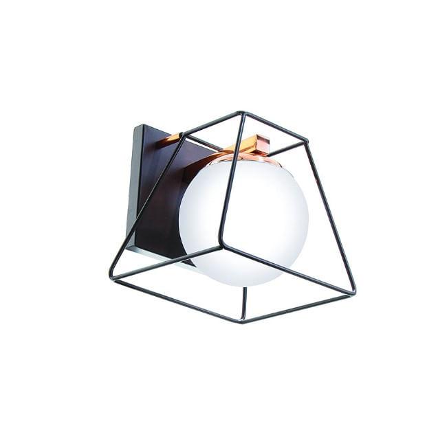 Arandela Globo em Estrutura de Metal - Preto Cobre Brilhante
