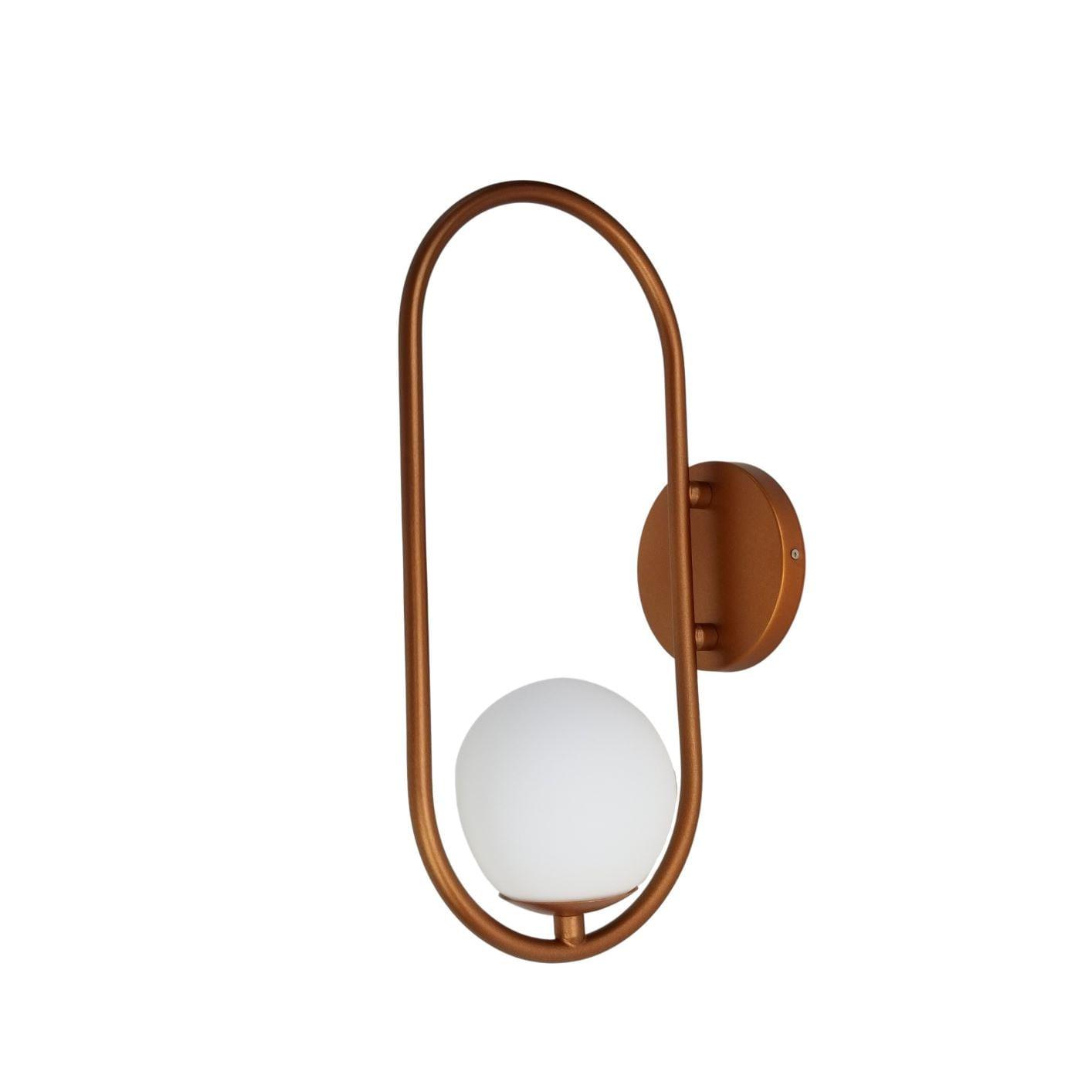 Arandela Moderna Aro Oval Cobre Com Globo Branco 12cm