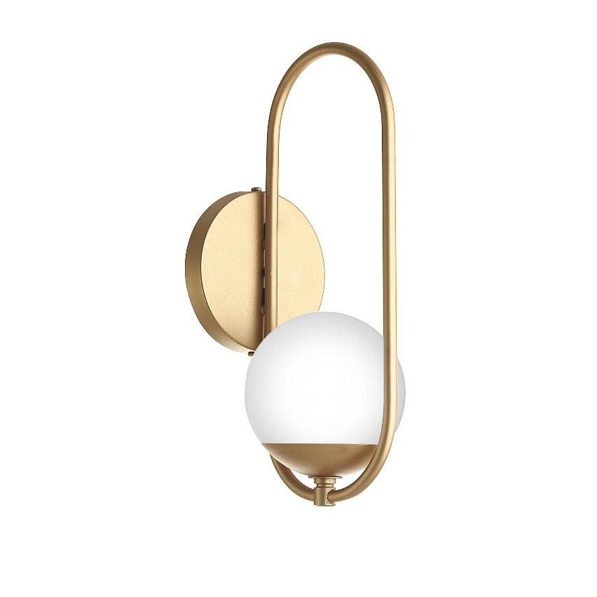 Arandela Moderna Aro Oval Dourado/Champanhe com Globo Branco