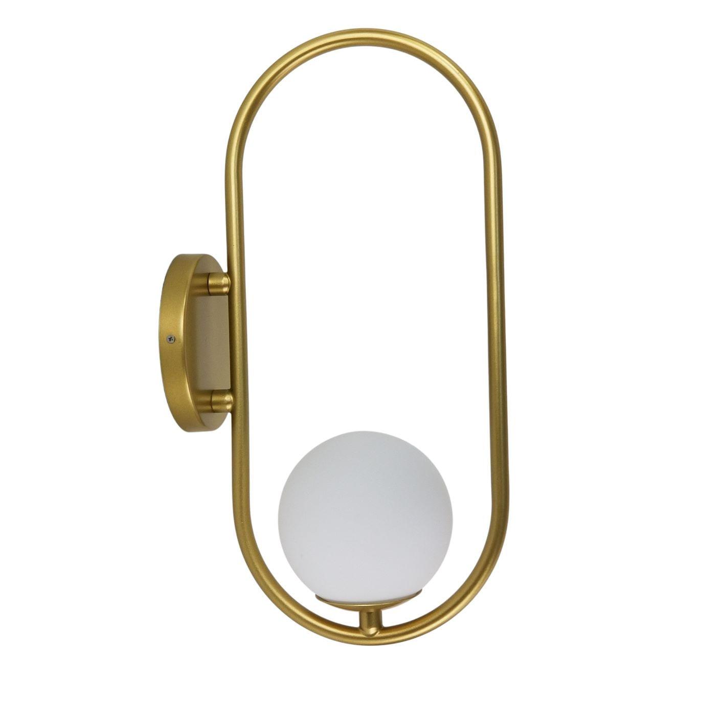 Arandela Moderna Aro Oval Dourado Com Globo Branco 12cm