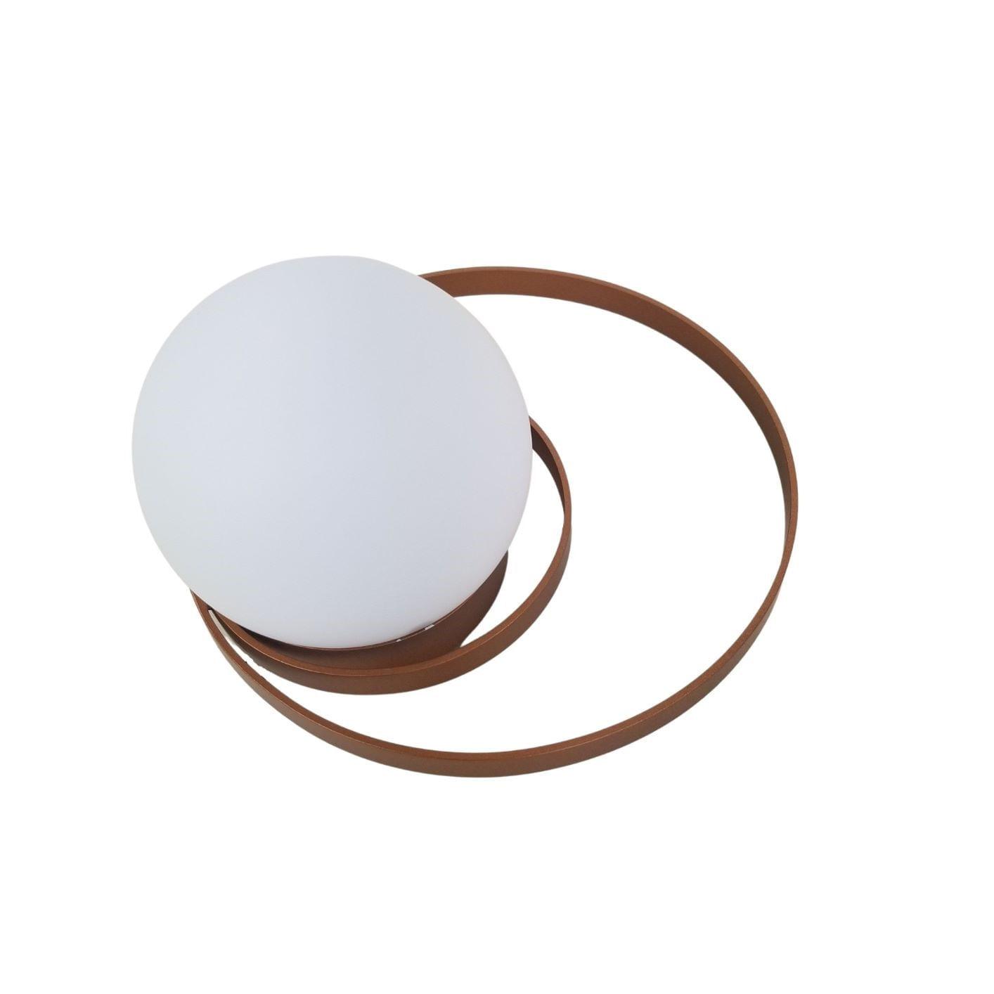 Arandela Moderna Saturno Com Dois Círculos e Globo - Cobre
