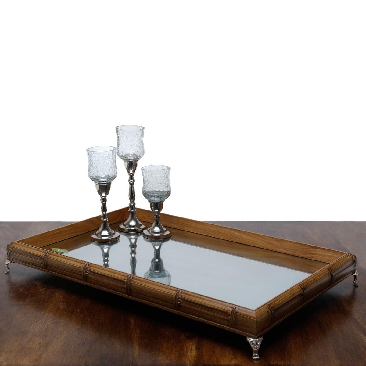 Bandeja Bambu Espelhada E Pezinho Prateado - Grande 55x35cm