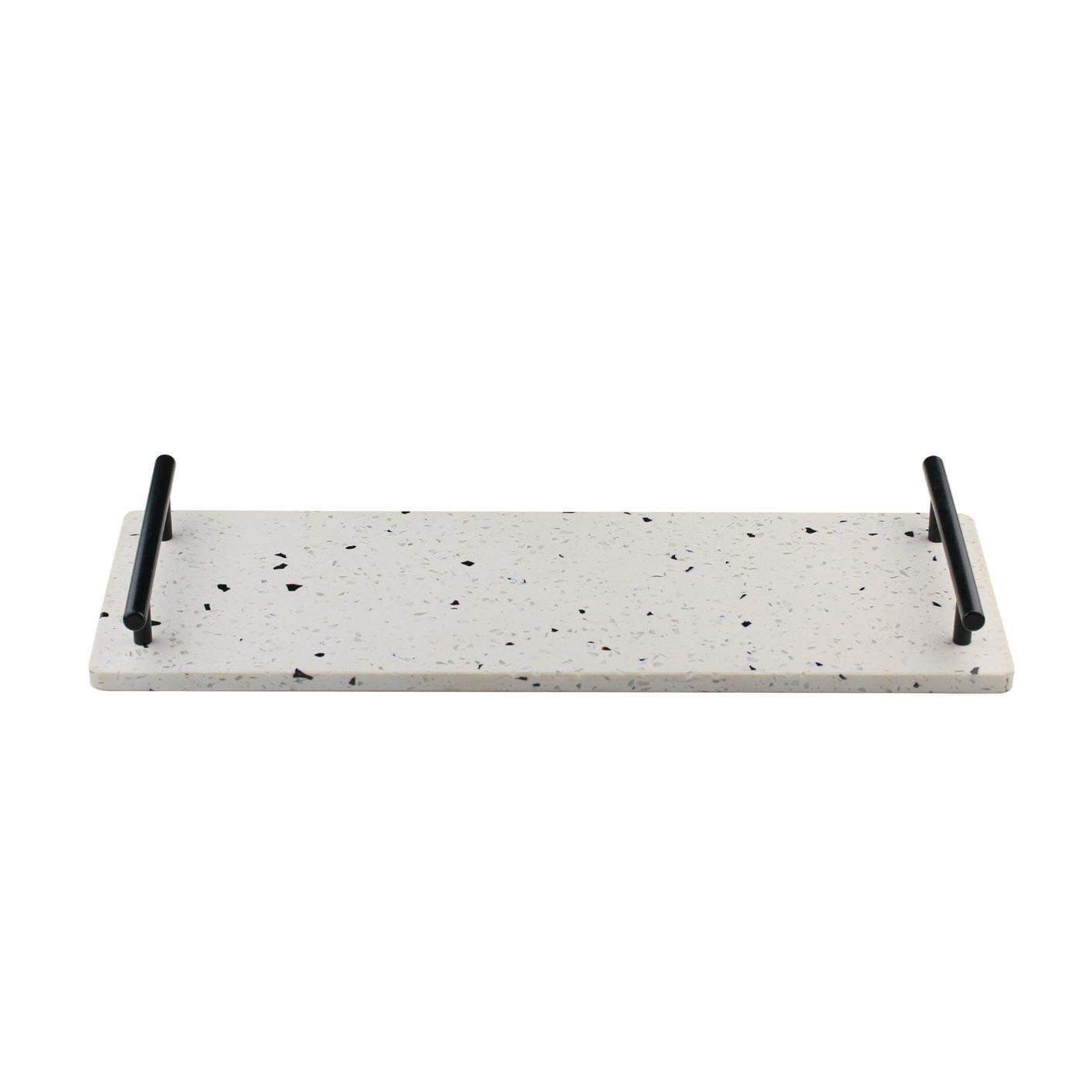 Bandeja de Mármore Terrazzo e Alças de Metal Preto - 40x15cm