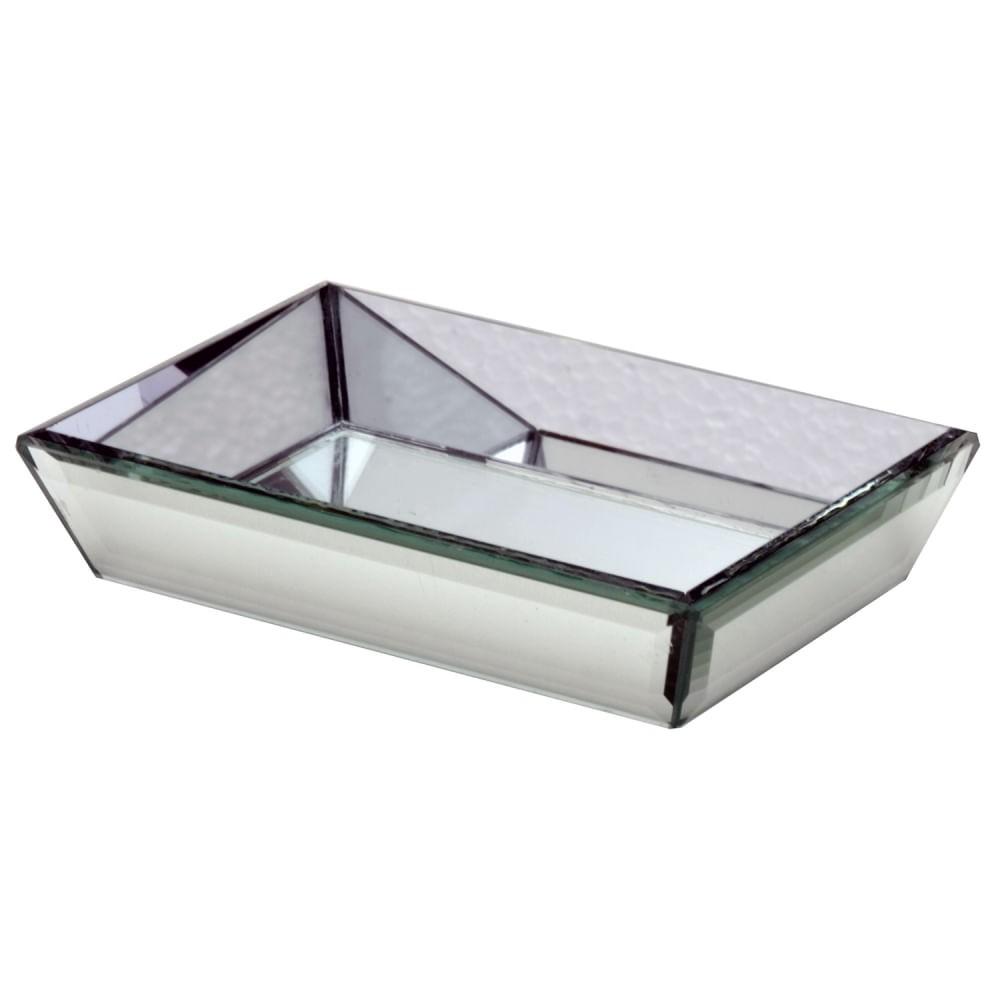 Bandeja Decorativa Espelhada Retangular - Vidro Martelado 15cm