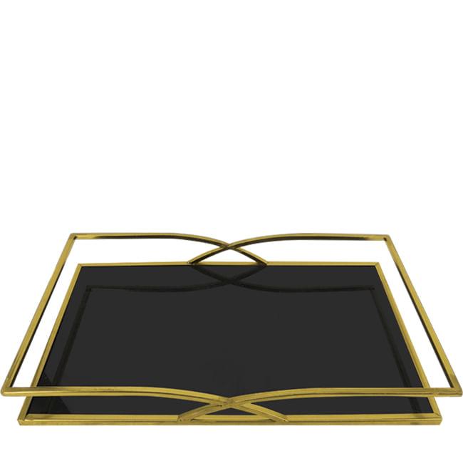 Bandeja Decorativa Retangular de Inox - Dourado e Preto 40cm