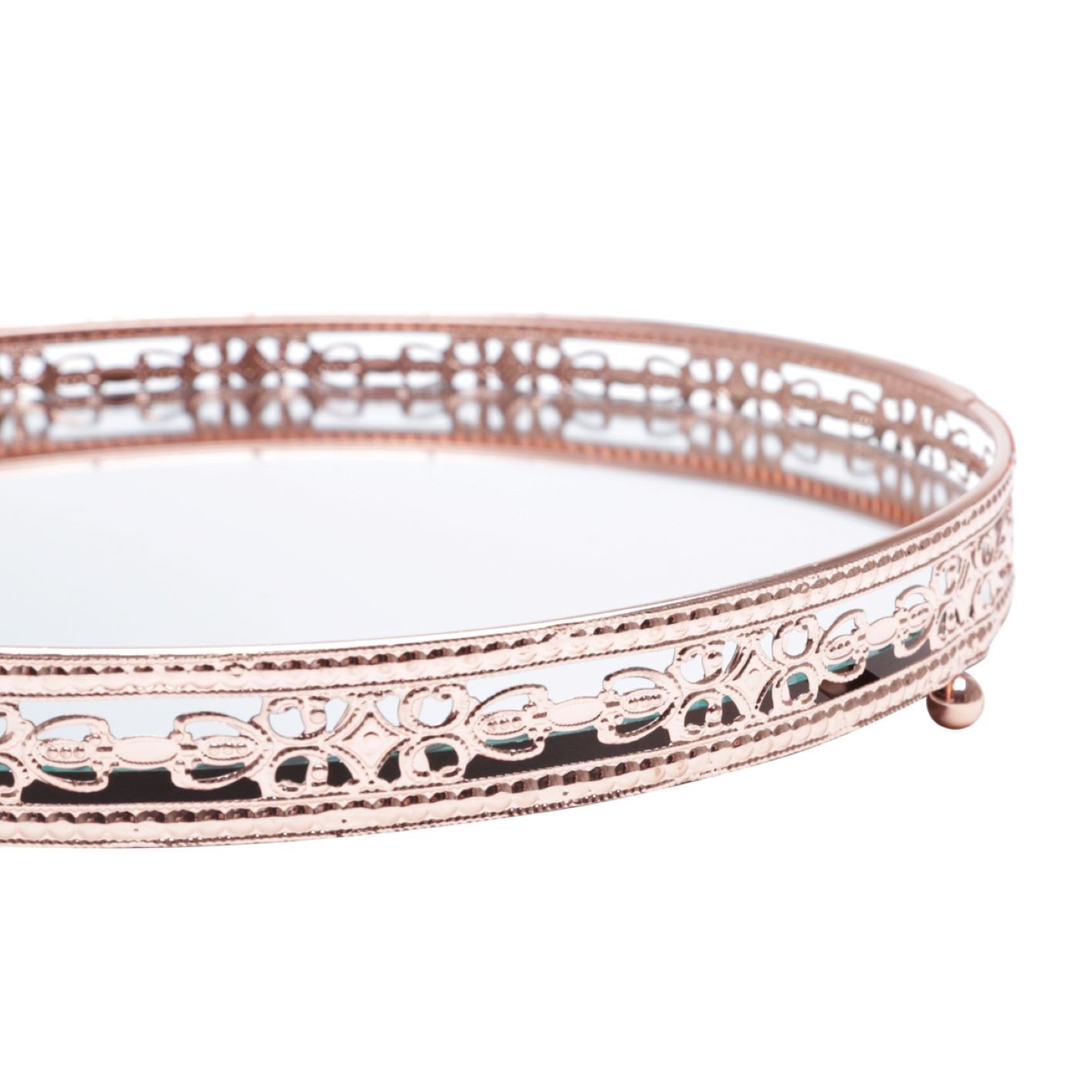 Bandeja Espelhada Decorativa Cobre - Redonda 19cm