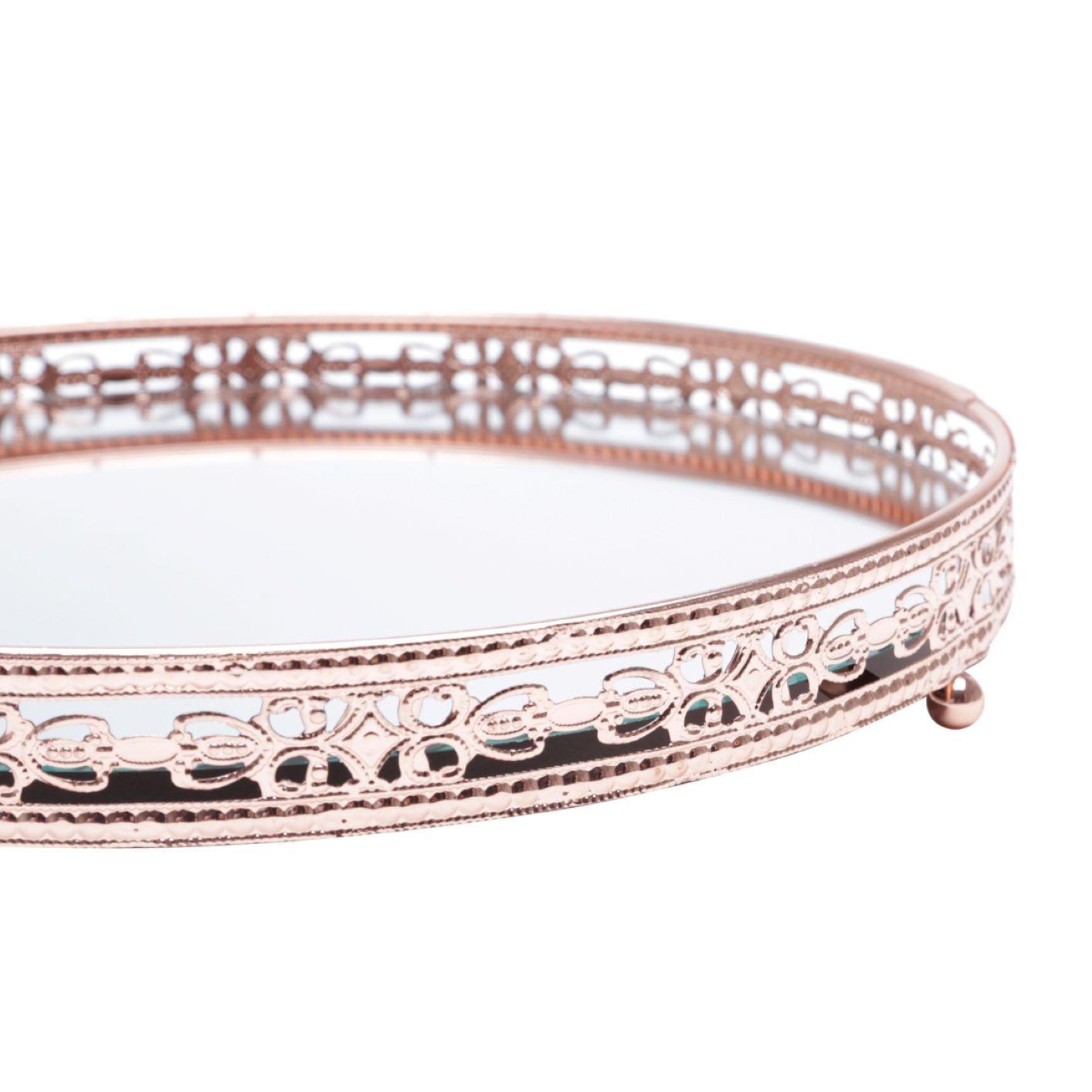 Bandeja Espelhada Decorativa Cobre - Redonda 28cm