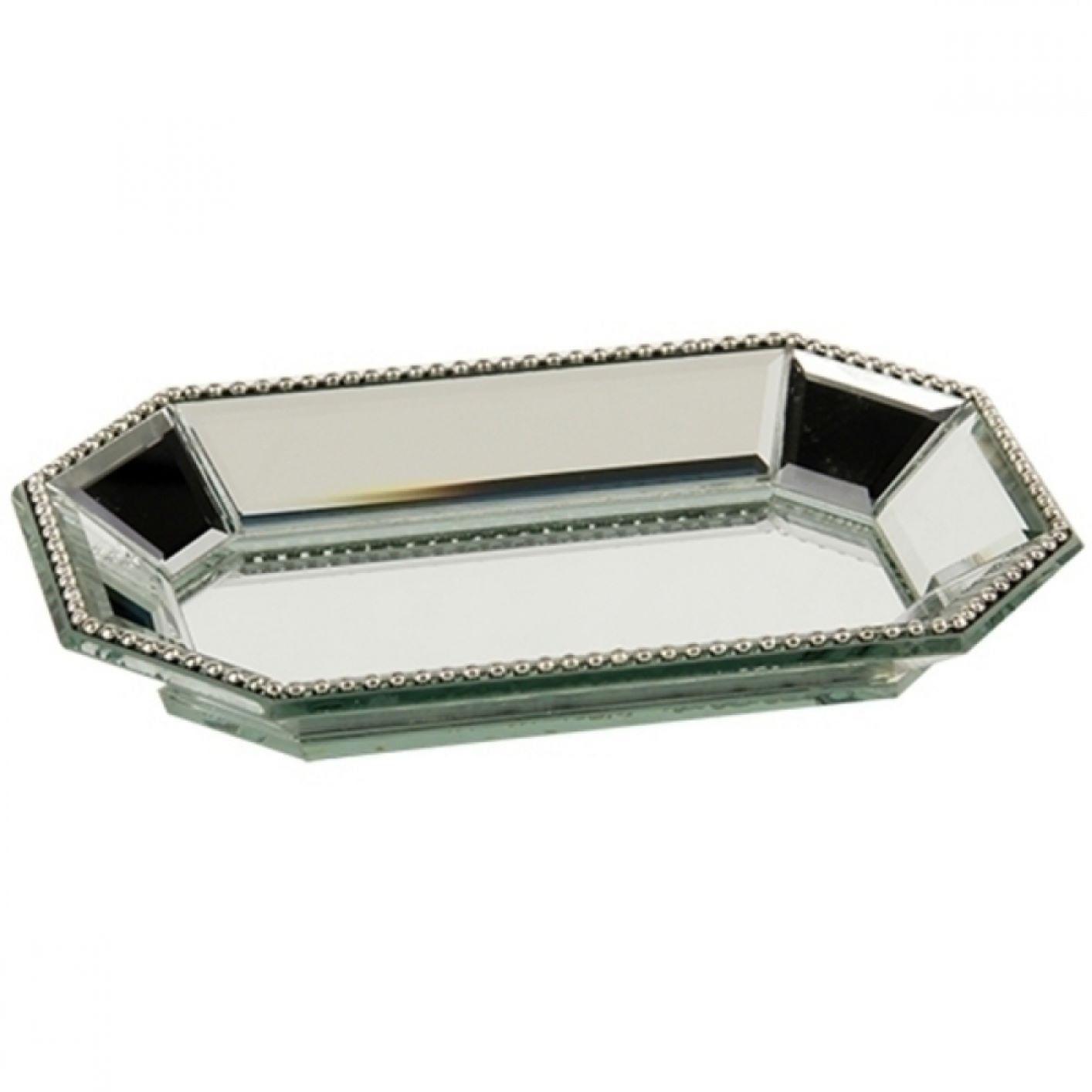 Bandeja Espelhada - Hexagonal Com Borda Bolinha 18x12cm