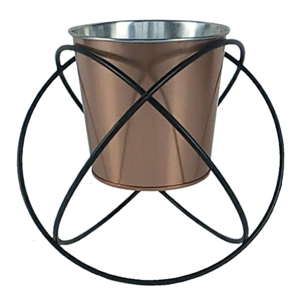 Cachepot em Metal Cobre com Suporte Circular Aramado Preto