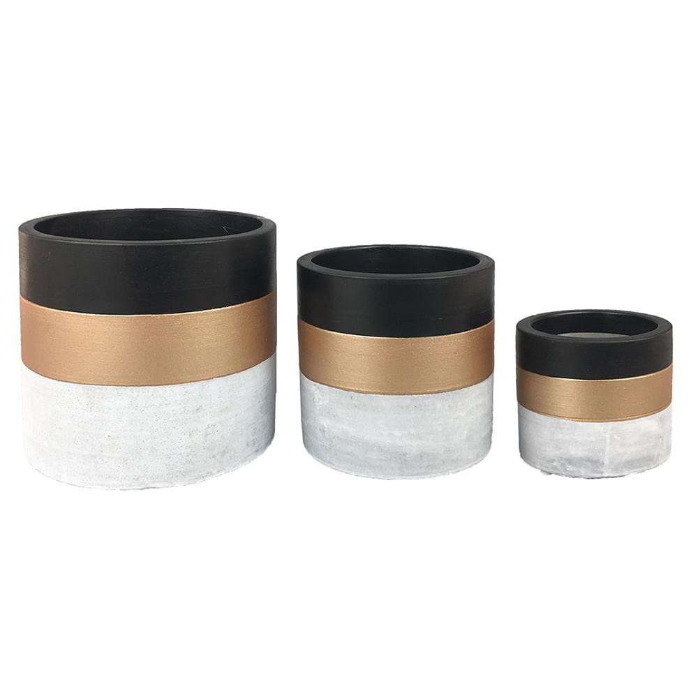 Cachepots de Cimento - Vasos Cinza, Dourado, Preto (3 Peças)