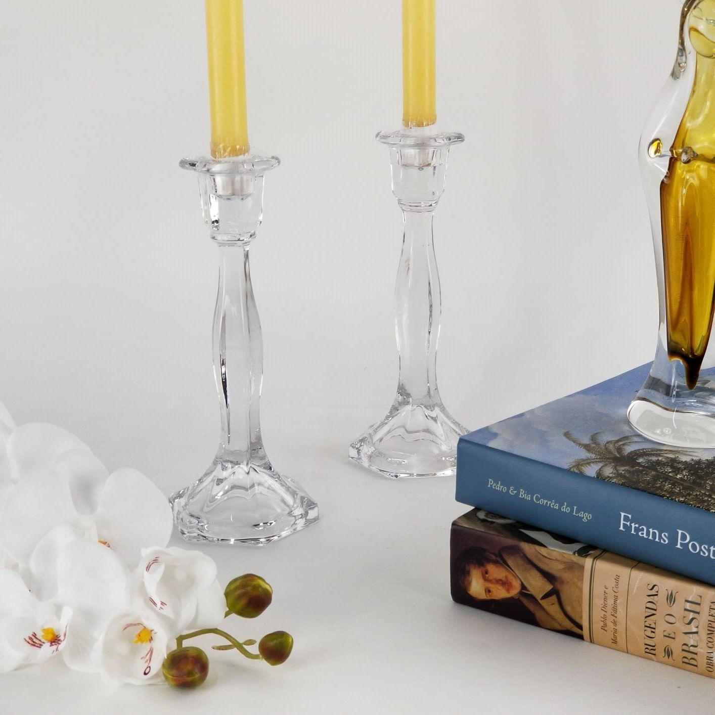 Castiçal de Cristal Transparente Objeto Decorativo Clássico