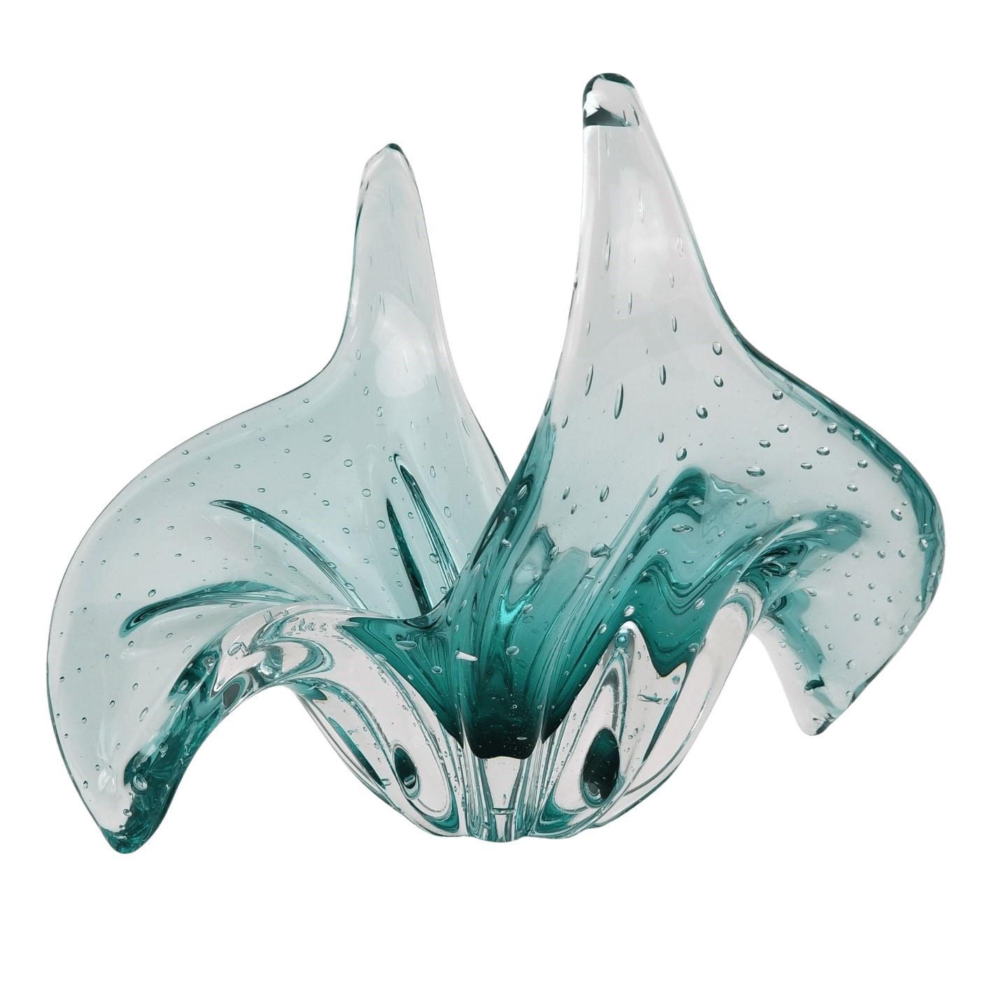Centro de Mesa Abbraccio Vaso de Cristal Murano Esmeralda