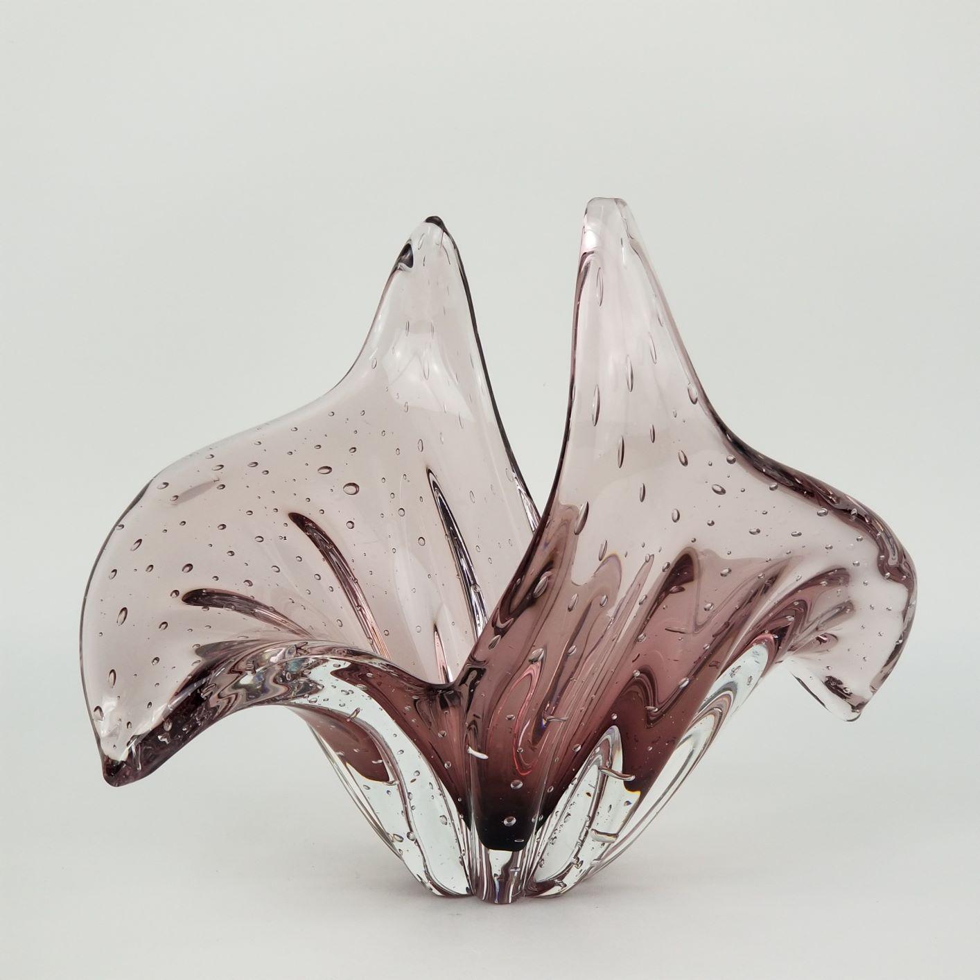 Centro de Mesa Abbraccio Vaso de Cristal Murano Rosa Rubi