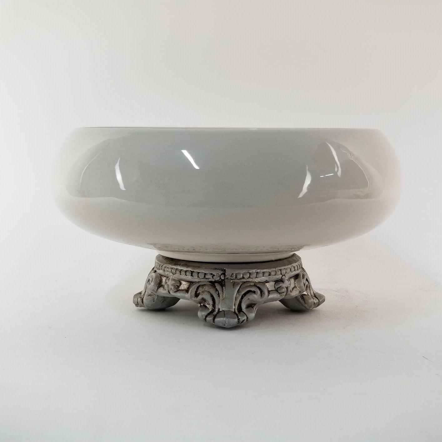 Centro de Mesa de Cerâmica Branco Off-White Liso e Pé Prata