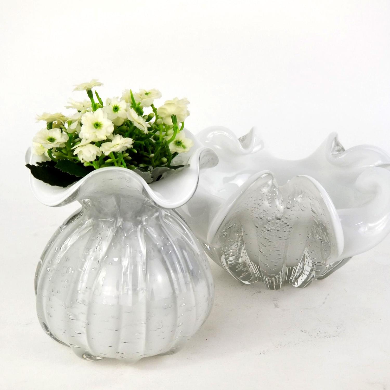 Centro de Mesa de Cristal Murano - Objeto Decorativo Branco