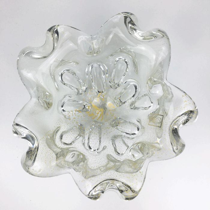 Centro de Mesa de Murano com Ouro São Marcos - Cristal Transparente 20cm