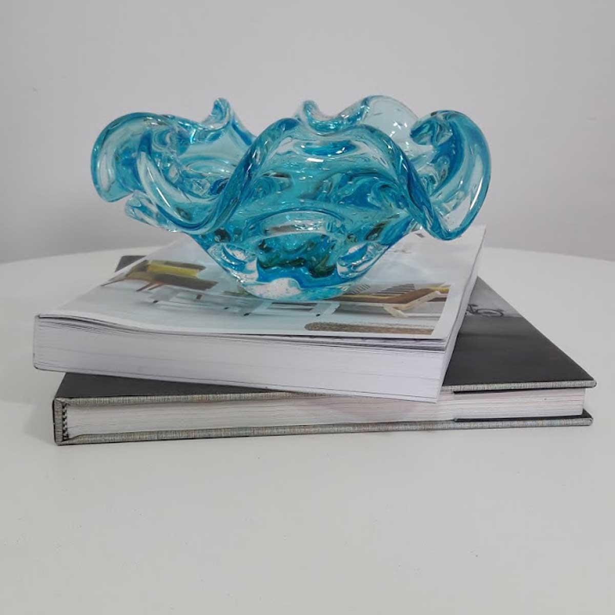 Centro de Mesa de Murano São Marcos - Cristal Azul 22cm