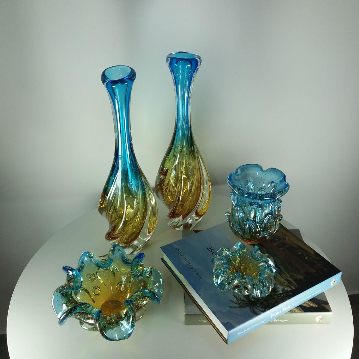 Centro de Mesa de Murano São Marcos - Cristal Azul e Âmbar 13cm