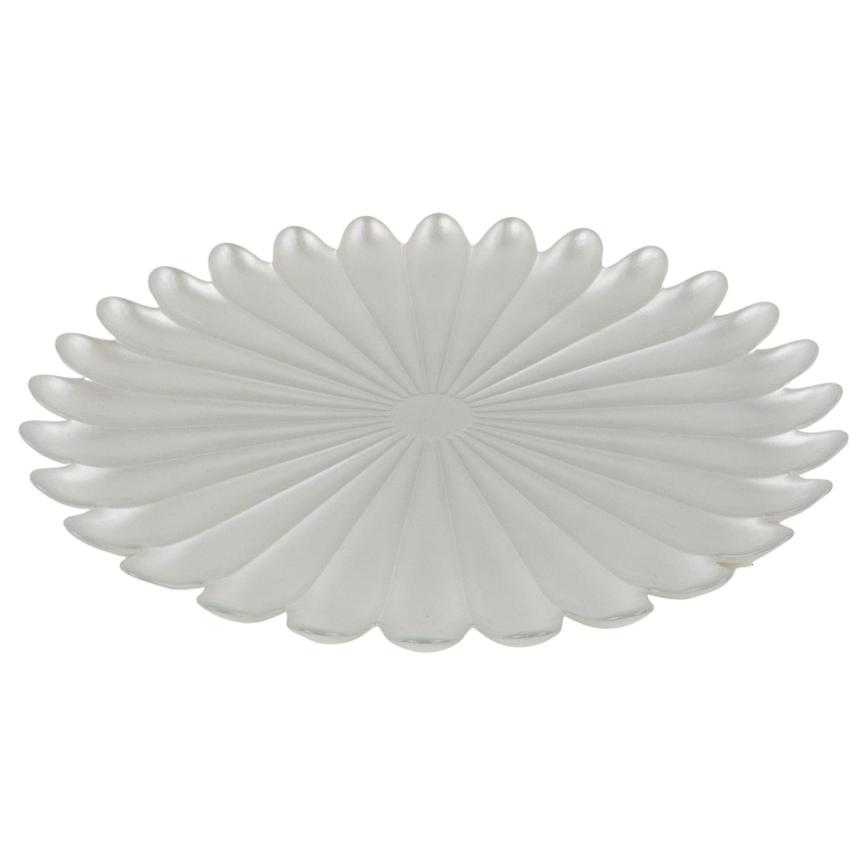 Centro de Mesa de Vidro Formato Flor Branca Pérola - 33cm