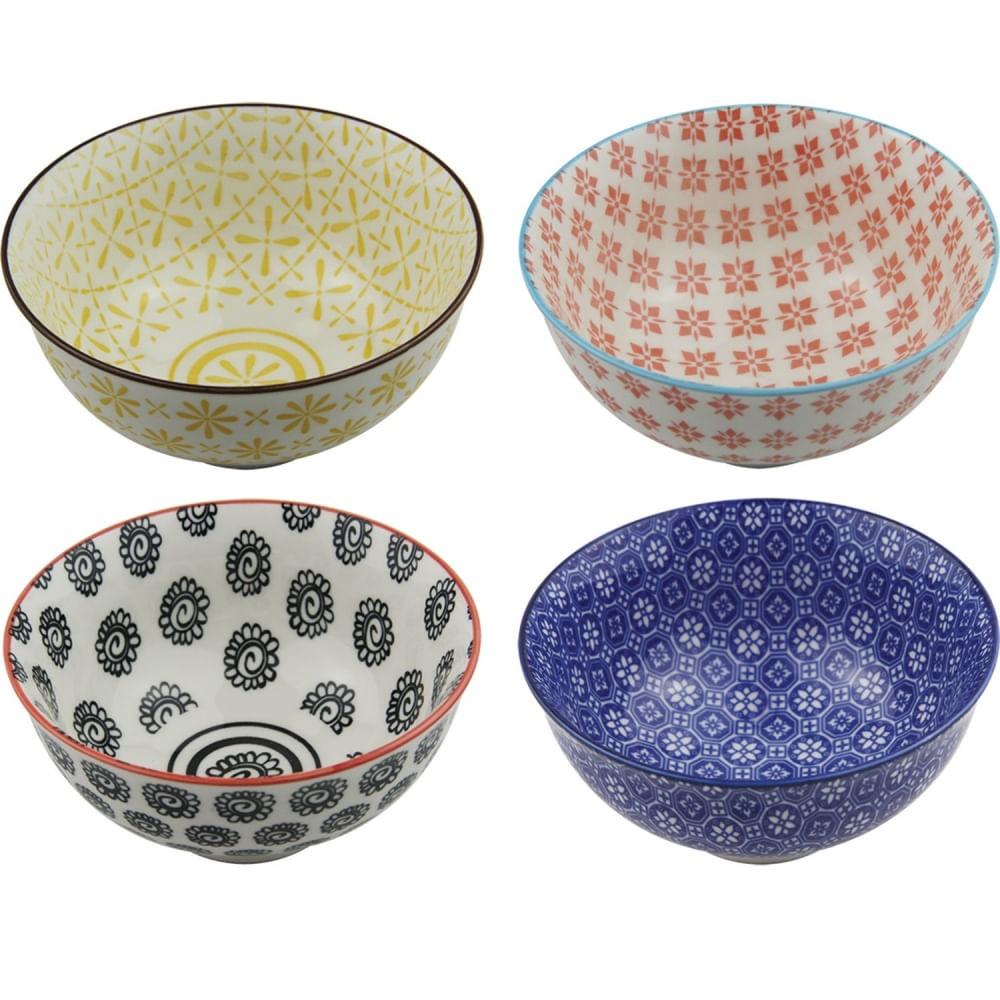 Conjunto de Bowls Decorativos em Estampas Sortidas - Soft (4 Peças)