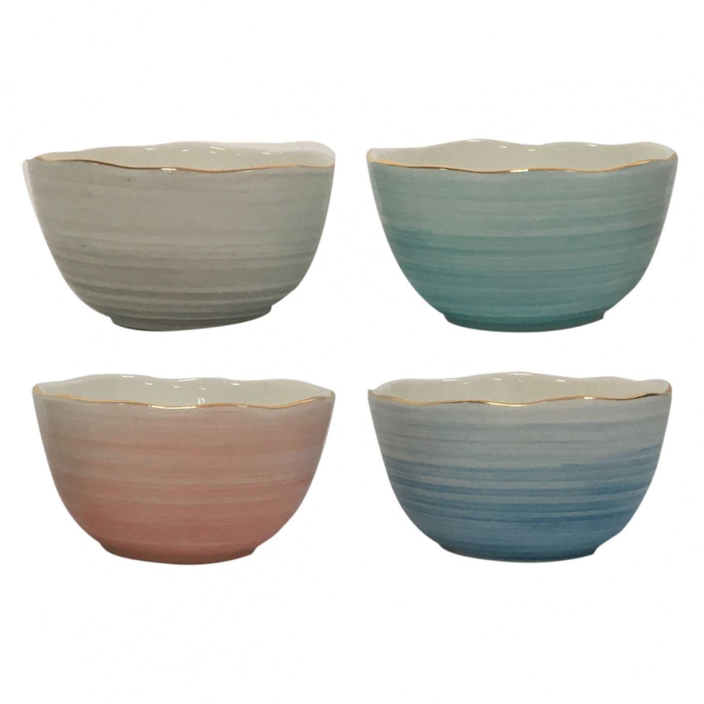 Conjunto De Bowls Multicoloridos Com Borda Dourada (4 Peças)