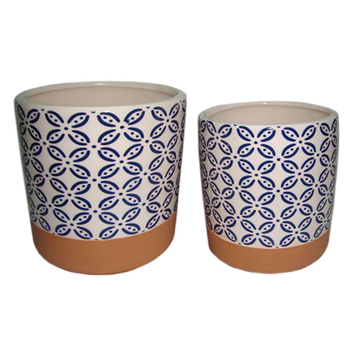 Conjunto de Cachepots de Cerâmica Terracota e Azul (2 Peças)